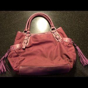 New York & Co large purple tassel handbag